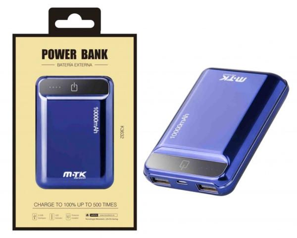 Power Bank PLUS K3632 con 2USB, 10000mA, azul