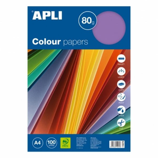 Papel color A4, 5 colores intensos