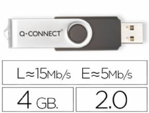 Memoria usb q-connect flash 4 gb 2.0. - Canon digital de 0,29€ incluido
