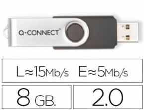 Memoria usb q-connect flash 8 gb 2.0. Canon digital de 0,29€ incluido.