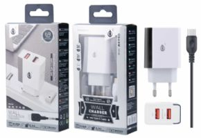 Cargador de Red SURI con Cable Type C, 2 USB , 2.4A, Blanco + Gris