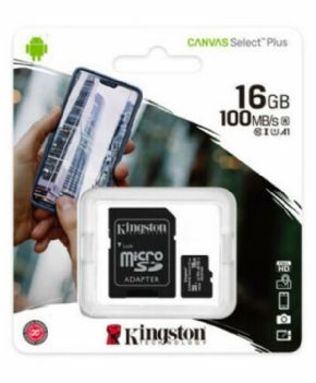 Tarjeta Micro SDHC Kingston Canvas Select+ 16 GB Clase 10 + CANON DIGITAL