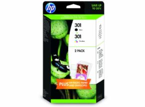 Pack Cartuchos de tinta HP 301 negro + 301 color + papel fotográfico