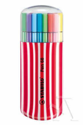 ESTUCHE 20 COLORES ZEBRUI STABILO PEN 68 COLOR CEREZA
