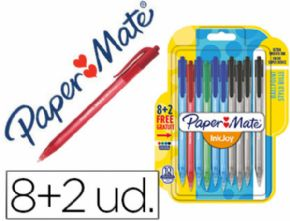 BOLIGRAFO PAPER MATE INKJOY 100 RETRACTIL PUNTA MEDIA TRAZO 1 MM PACK 8 + 2  SURTIDOS