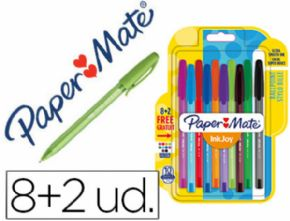 BOLIGRAFO PAPER MATE INKJOY 100 PUNTA MEDIA TRAZO 1 MM PACK 8 +2