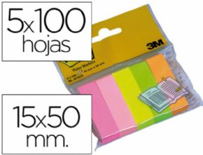 BLOC DE NOTAS ADHESIVAS QUITA Y PON POST-IT 15 X 50 MM COLORES