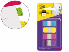 BANDERITAS SEPARADORAS RIGIDAS DISPENSADOR 4 COLORES AMARILLO AZUL ROSA Y VIOLETA POST-IT