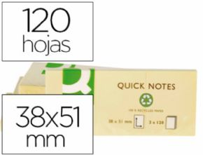 BLOC DE NOTAS ADHESIVAS QUITA Y PON Q-CONNECT 38X51 MM