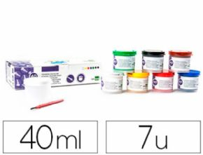 TEMPERA LIDERPAPEL ESCOLAR 40 ML 7 COLORES SURTIDOS + PINCEL