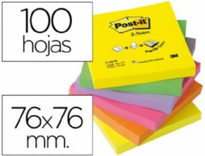 BLOC DE NOTAS ADHESIVAS QUITA Y PON POST-IT 76X76 MM Z-NOTESULTRA INTENSO PACK DE 6 BLOCS SURTIDO