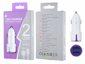 Cargador de mechero MTK A6124 USB a iphone 6/7 2.4 A color blanco