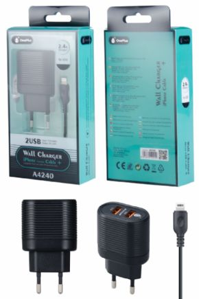 Cargador USB de 2 puertos con cable de Iphone
